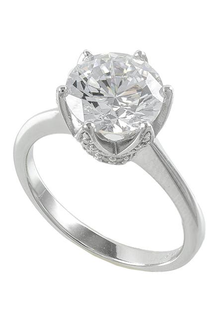 Image of CZ By Kenneth Jay Lane Pave Crown CZ Solitaire Ring