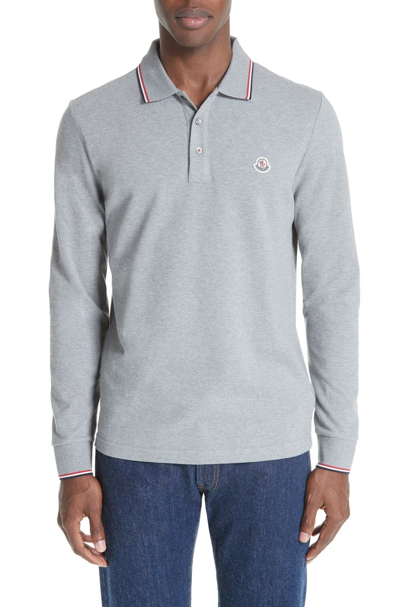 MONCLER Maglia Long Sleeve Piqué Polo, Main, color, LIGHT GREY