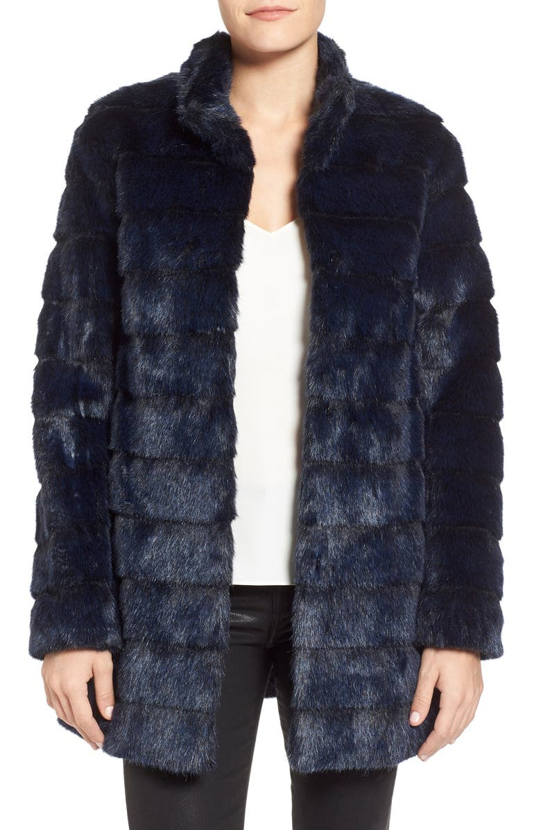 LAUNDRY BY SHELLI SEGAL Grooved Faux Fur Coat, Main, color, 410
