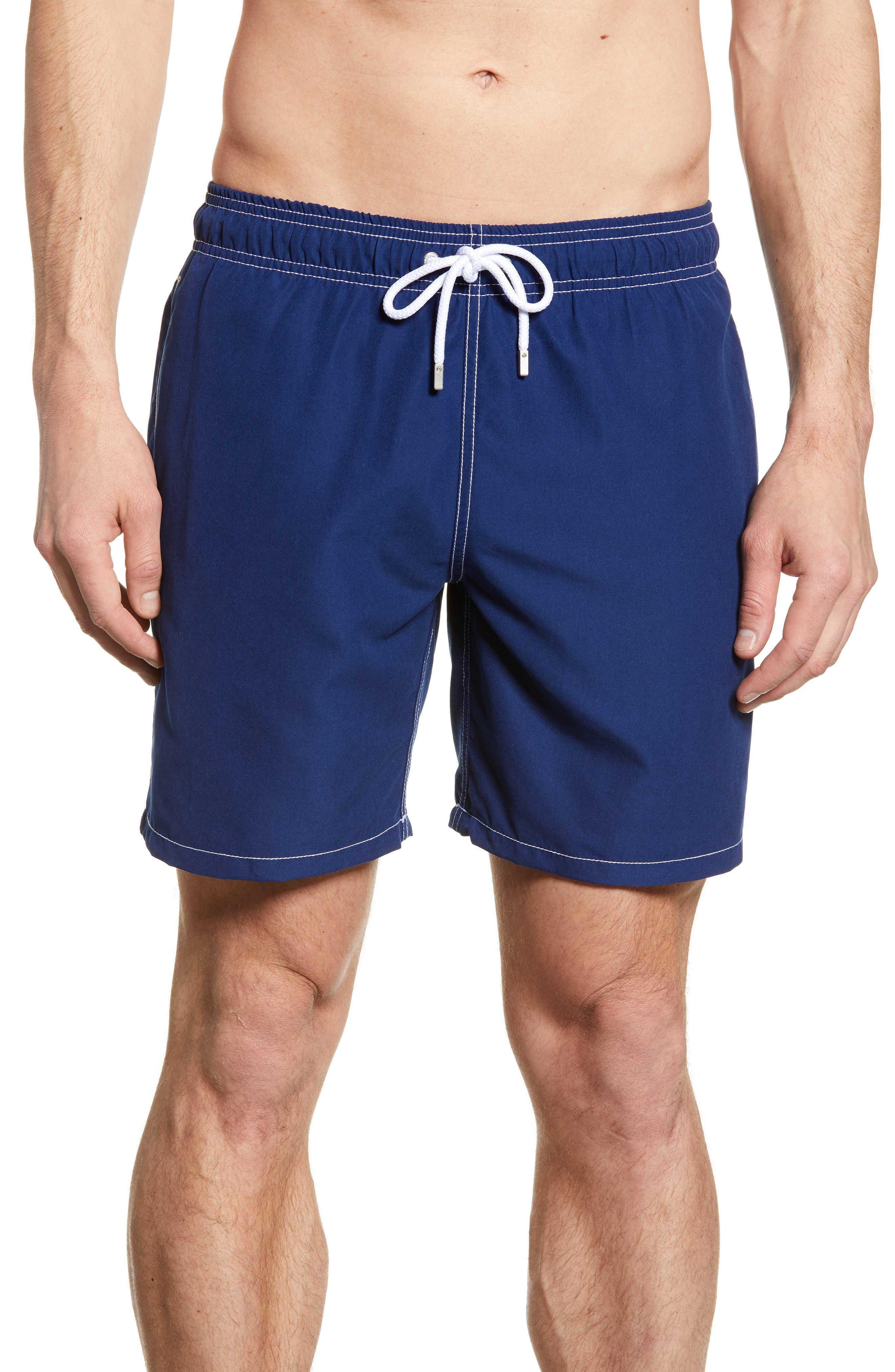 men's bugatchi solid swim trunks, size large - blue