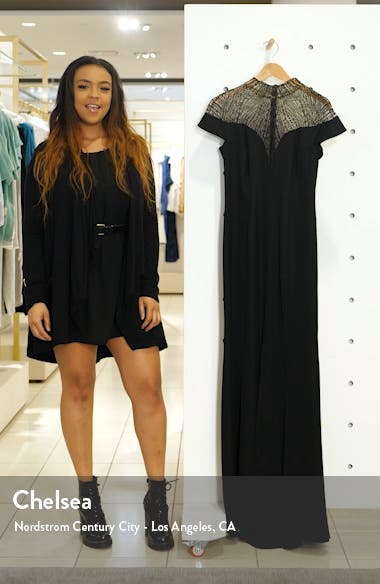 Mock Neck Embroidered Mesh Bodice Gown, sales video thumbnail