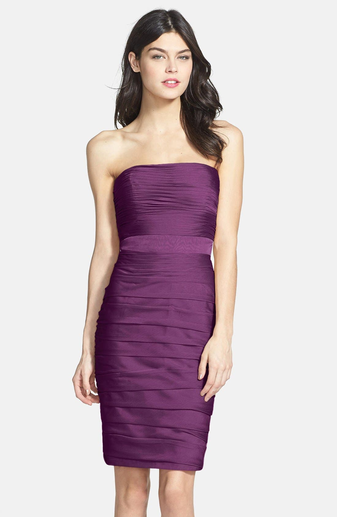 ,                             Ruched Strapless Cationic Chiffon Dress,                             Main thumbnail 48, color,                             500