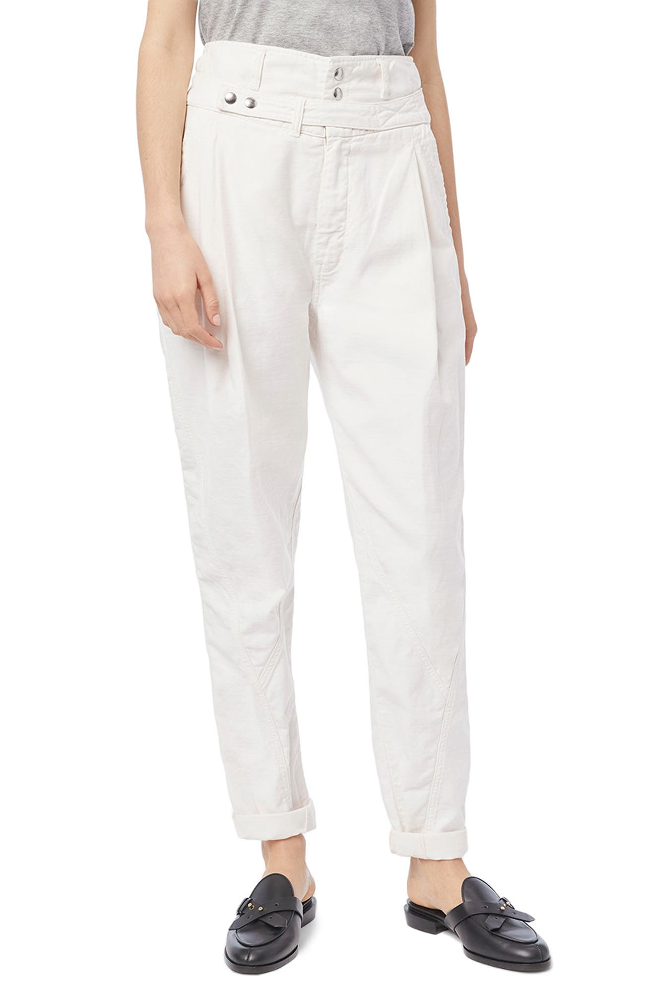 FRAME Twist Seam Belted Tapered Trousers | Nordstrom