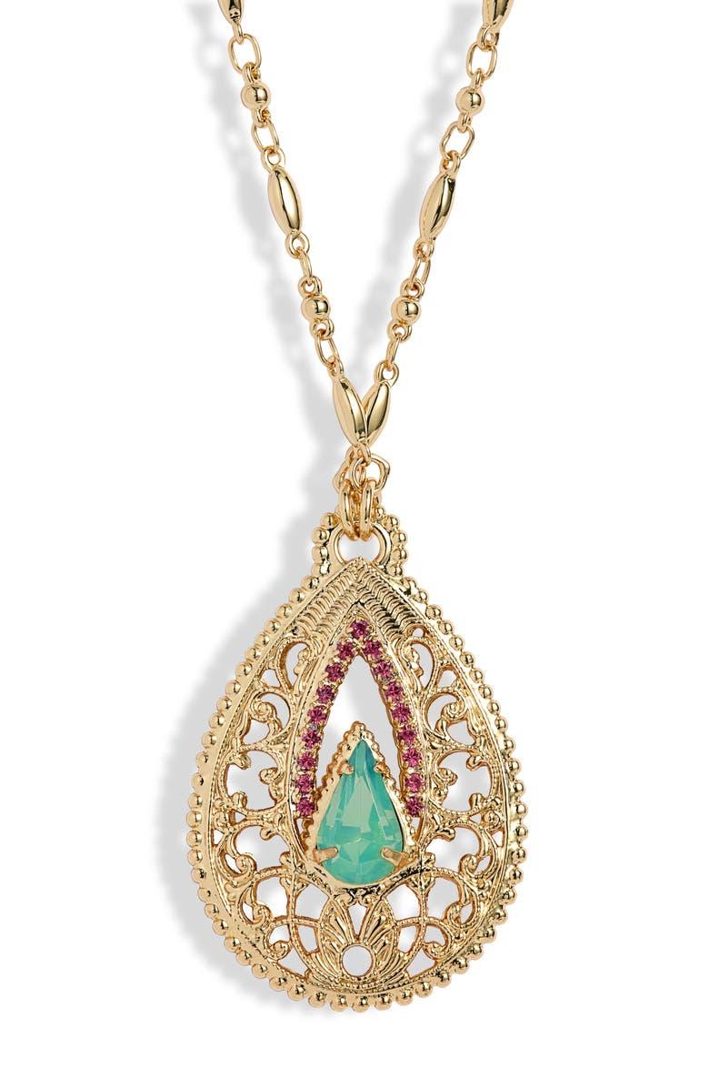 SORRELLI Fiona Long Pendant Necklace, Main, color, BRIGHT GOLD TONE BRIGHT