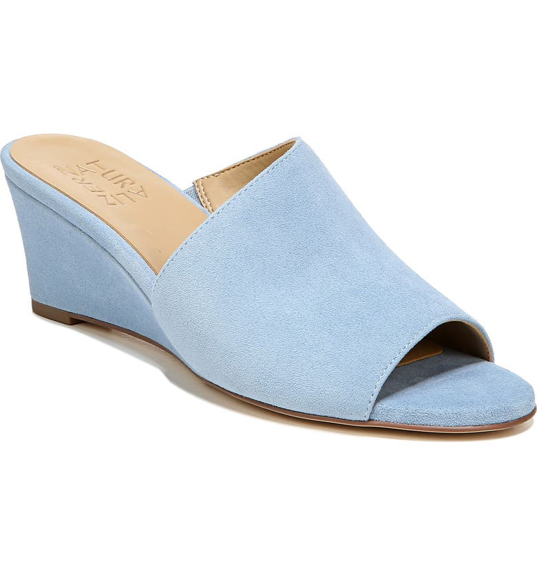 NATURALIZER Sansa Wedge Slide Sandal, Main, color, LIGHT BLUE SUEDE