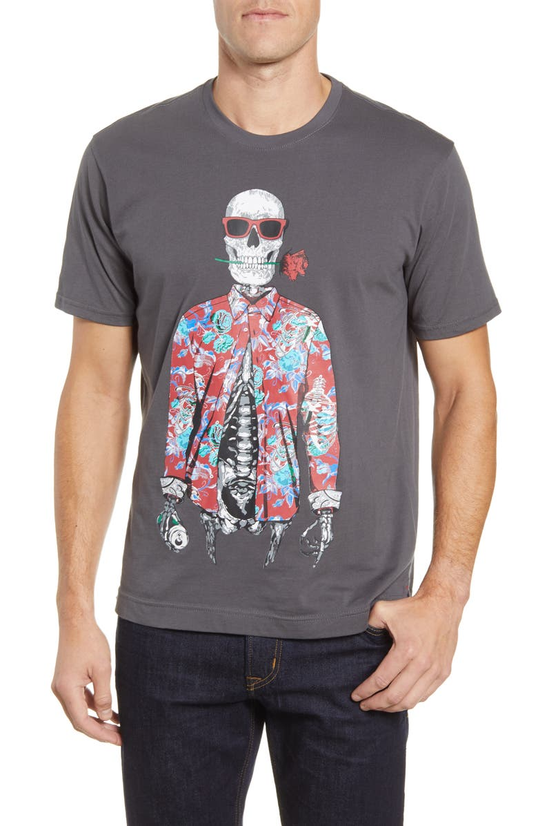 ROBERT GRAHAM Running on Empty Graphic T-Shirt, Main, color, CHARCOAL