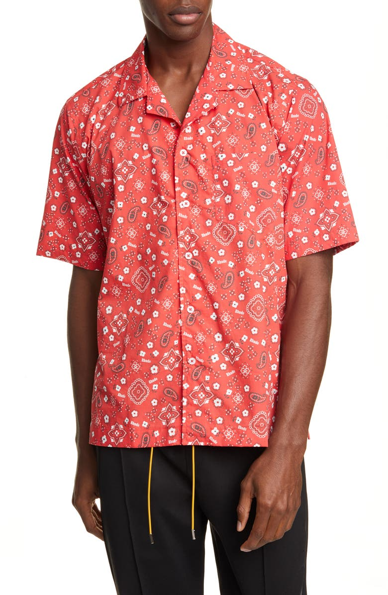 RHUDE Bandana Print Short Sleeve Button-Up Camp Shirt, Main, color, 600