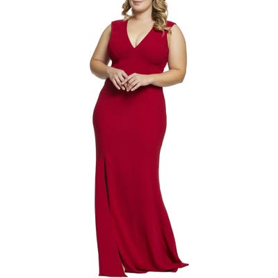 Plus Size Dress The Population Sandra Plunge Gown, Red