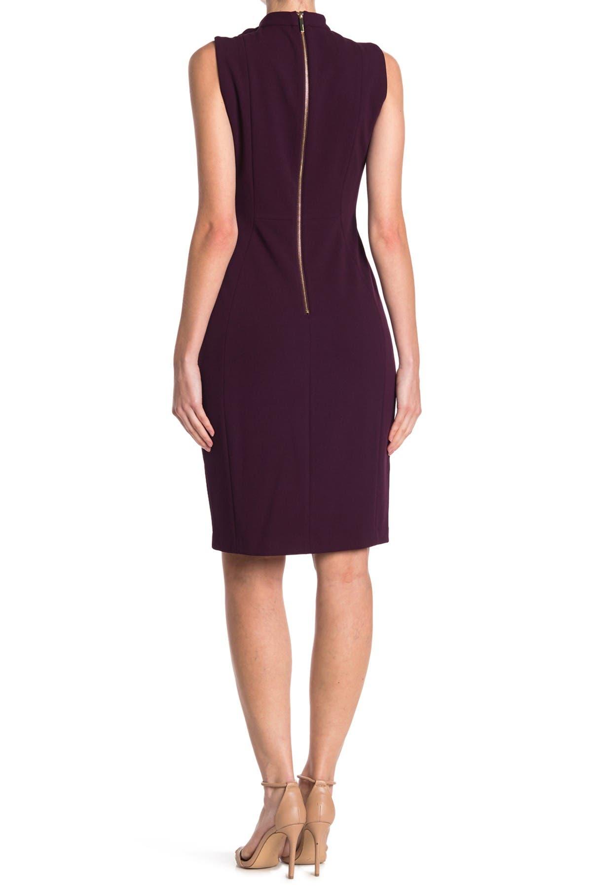 Image of Calvin Klein Sleeveless Tie Neck Sheath Dress