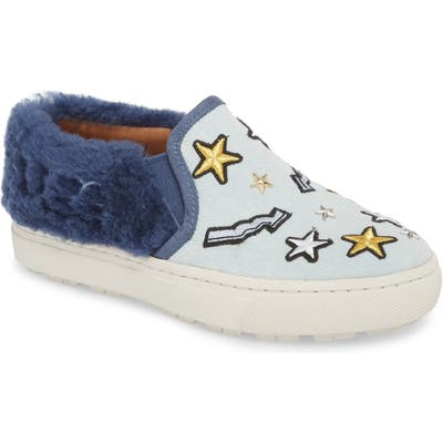 Ugg Patch It Genuine Shearling Trim Slip-On Sneaker- Blue
