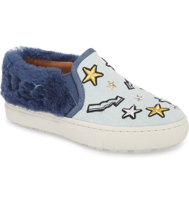 UGG<SUP>®</SUP> Patch It Genuine Shearling Trim Slip-On Sneaker, Main, color, BLEACH DENIM