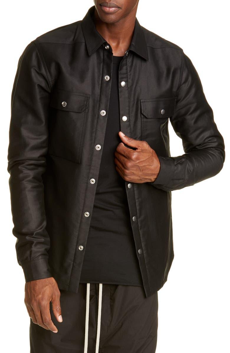 RICK OWENS Giacca NDKL Snap-Up Outershirt, Main, color, BLACK