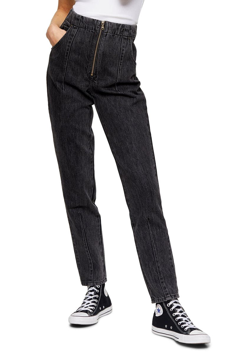 TOPSHOP Zip Mom Jeans, Main, color, WASHED BLACK