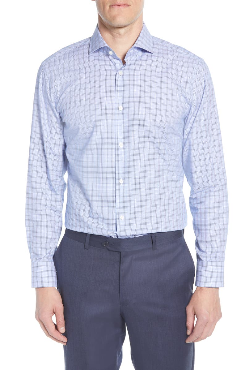 BOSS Sharp Fit Plaid Dress Shirt, Main, color, BLUE