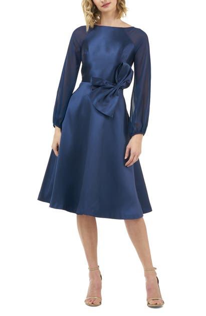 Kay Unger Dresses JADE BOW WAIST LONG SLEEVE COCKTAIL DRESS
