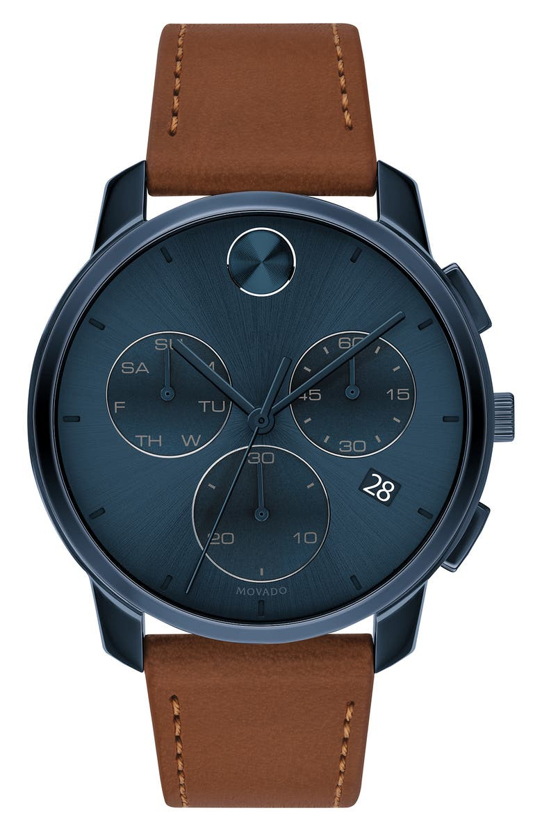 MOVADO Bold Chronograph Leather Strap Watch, 42mm, Main, color, COGNAC/ BLUE