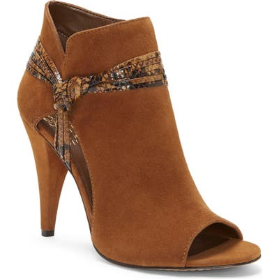 Vince Camuto Annavay Open Toe Bootie, Brown
