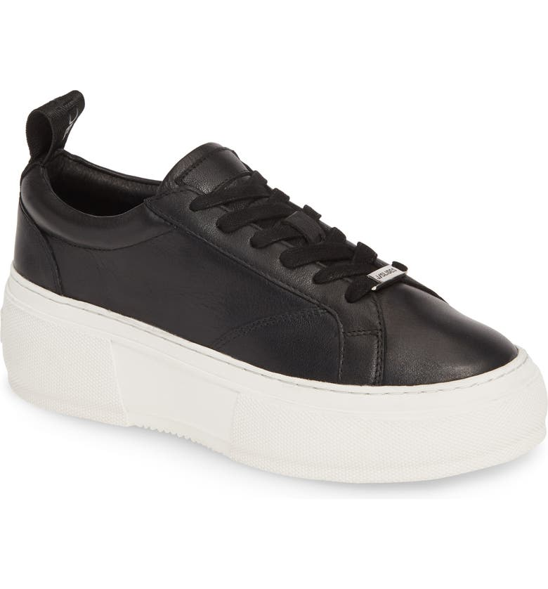 JSLIDES Courto Platform Sneaker, Main, color, BLACK LEATHER