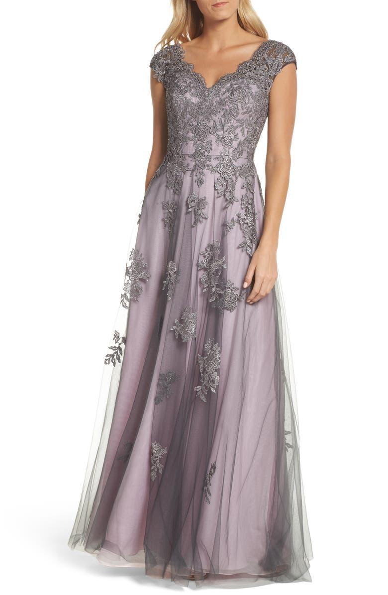 LA FEMME Embellished Mesh A-Line Gown, Main, color, PINK/ GRAY