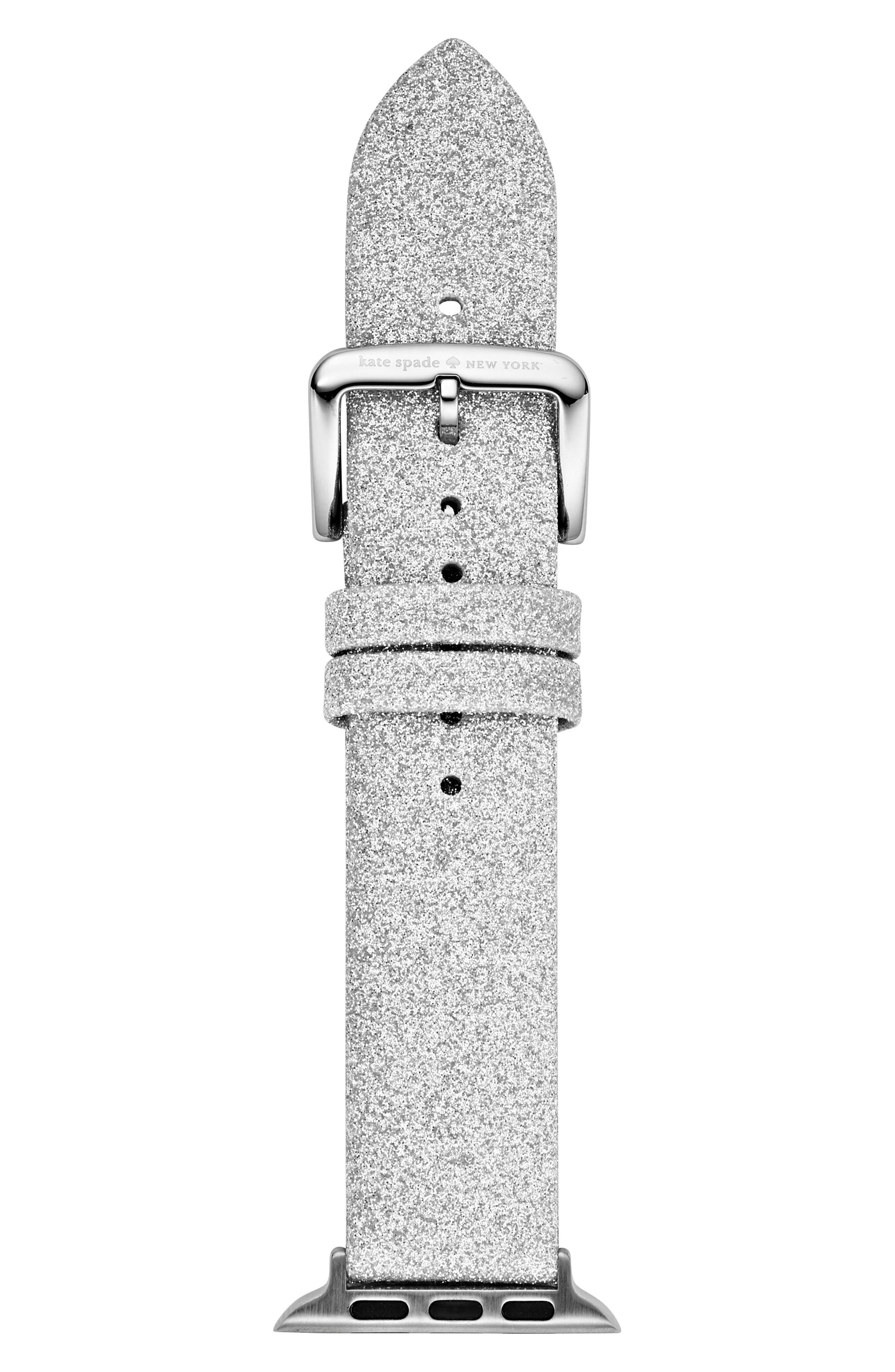 Apple Watch strap, 38mm, Main, color, SILVER GLITTER