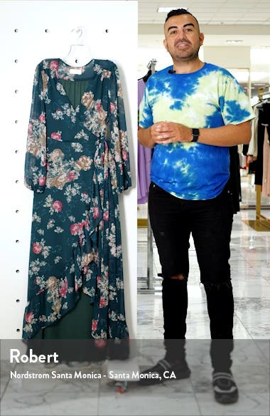 The Meryl Floral Long Sleeve Wrap Gown, sales video thumbnail