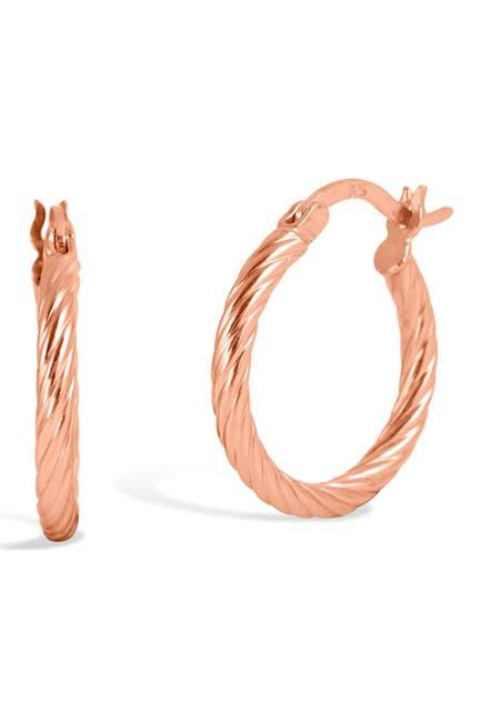 Image of Savvy Cie 18K Rose Gold Twist Tube Hoop Earrings