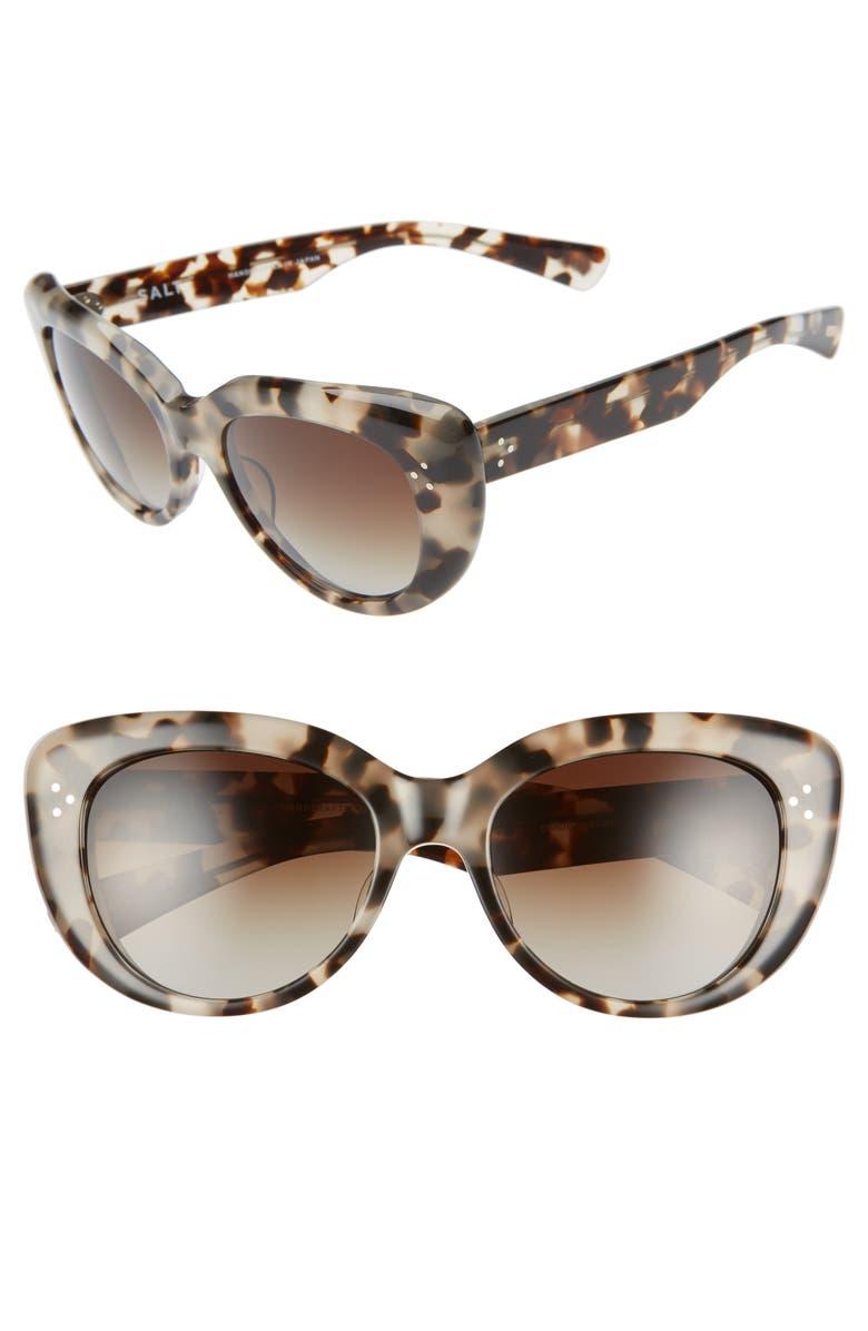 SALT. Cordis 55mm Polarized Round Cat Eye Sunglasses, Main, color, 200