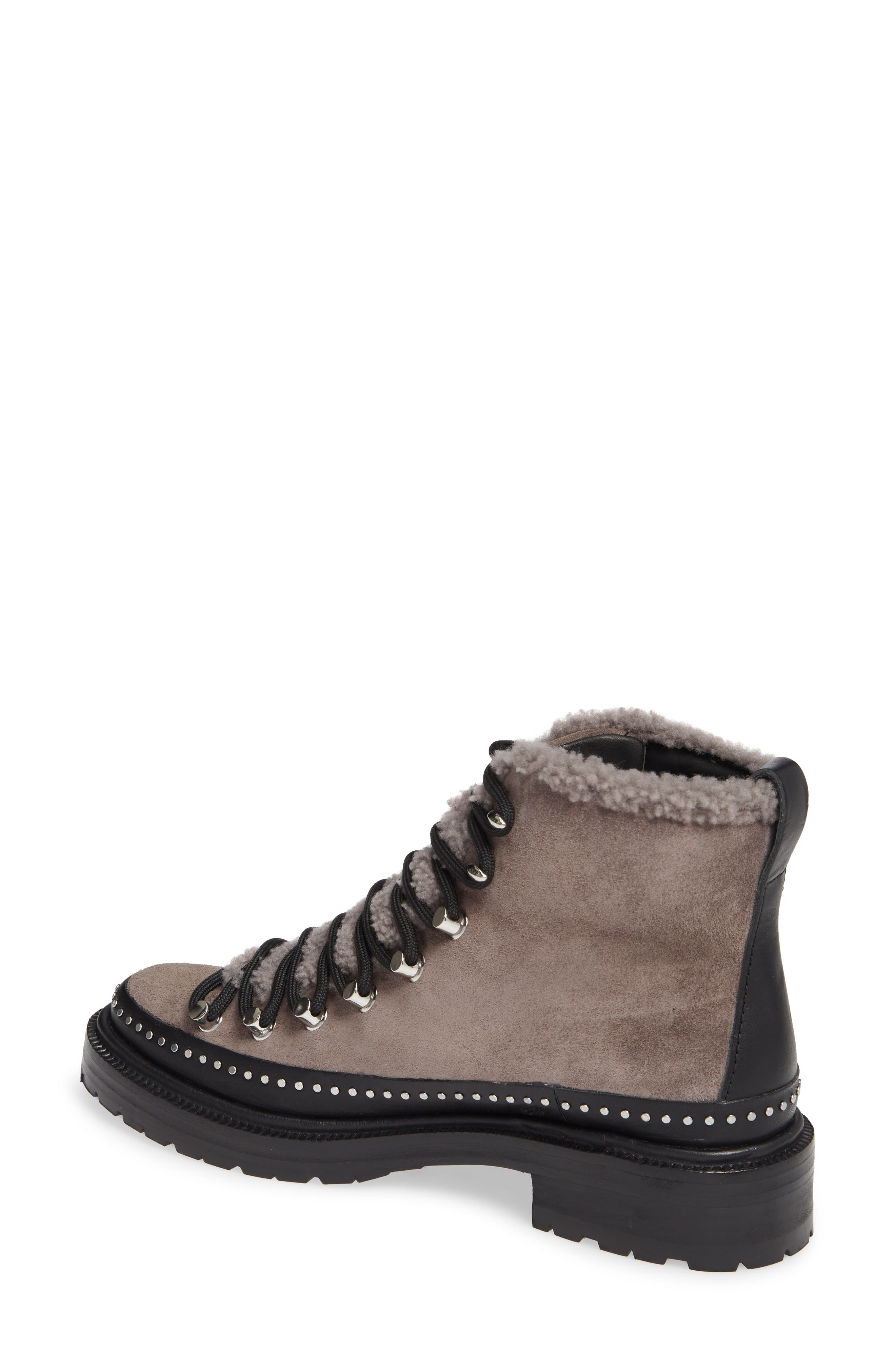 ,                             Compass Genuine Shearling Combat Boot,                             Alternate thumbnail 2, color,                             ELEPHANT SUEDE