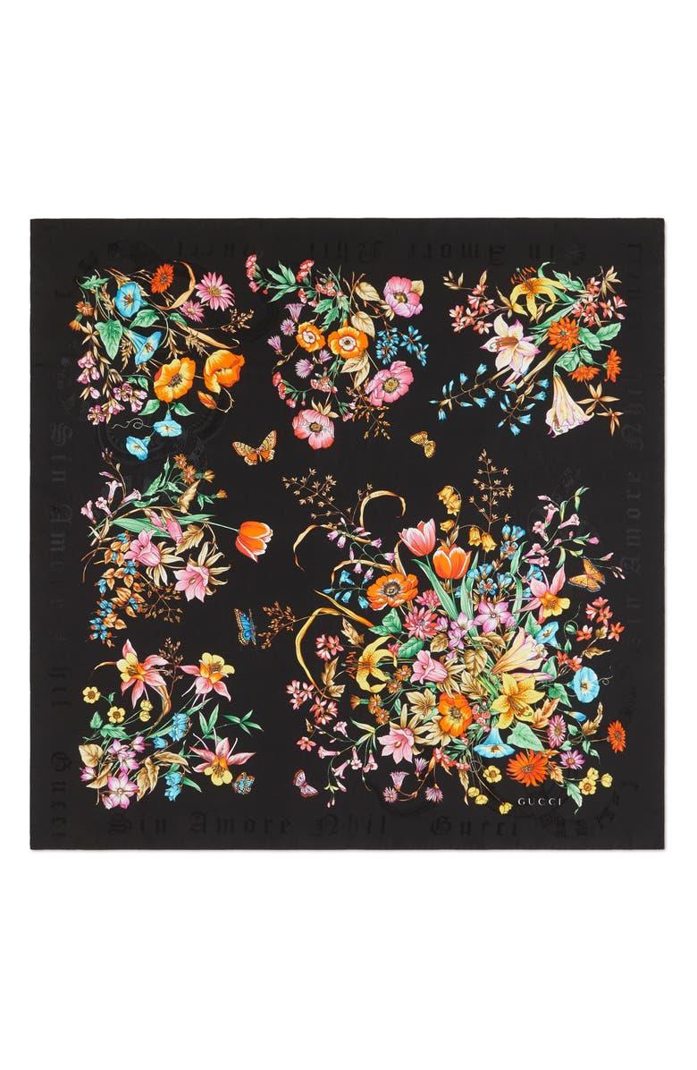 GUCCI Sine Amore Floral Print Silk Twill Scarf, Main, color, 002