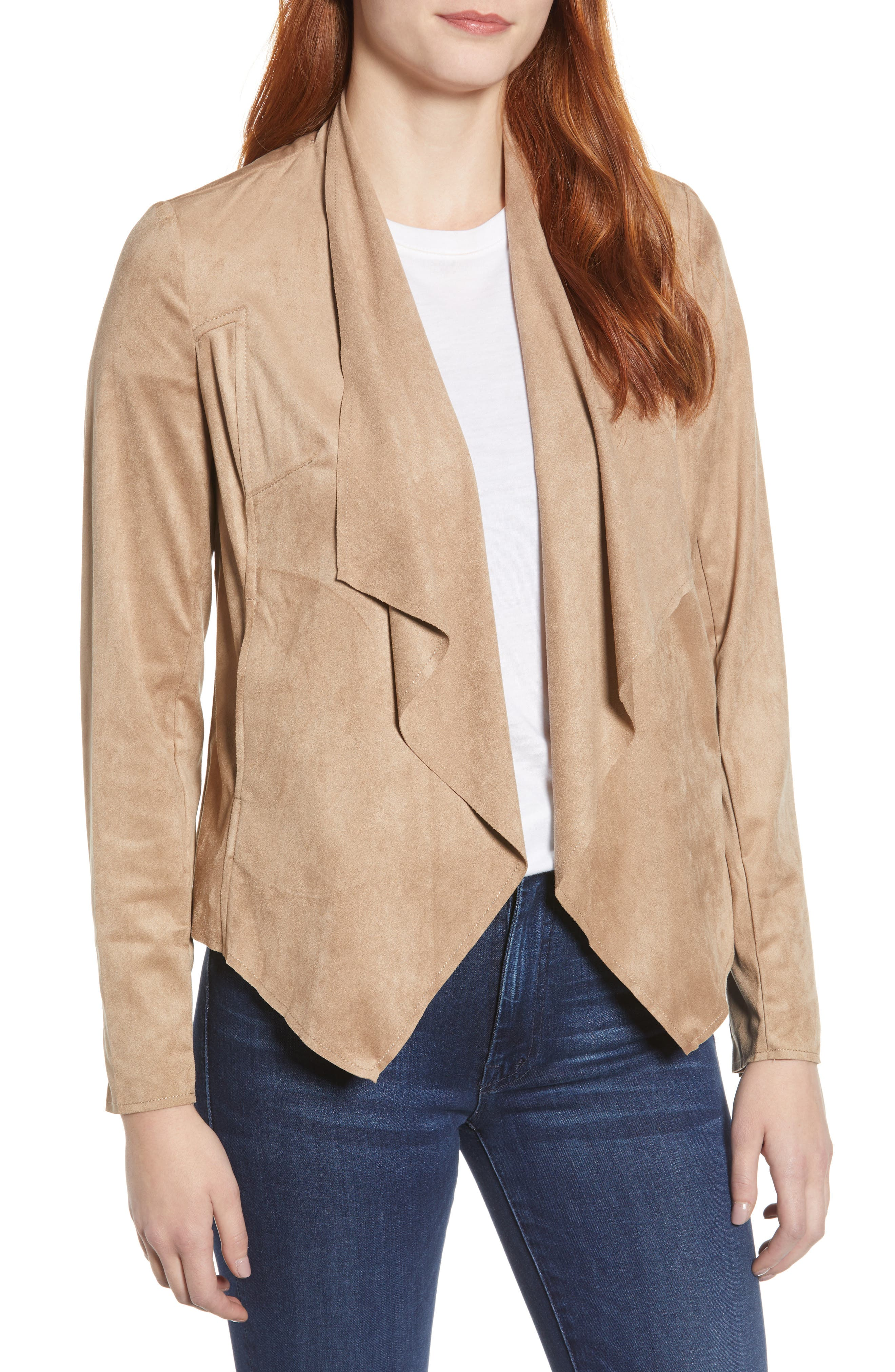 Tayanita Faux Suede Jacket, Main, color, KHAKI