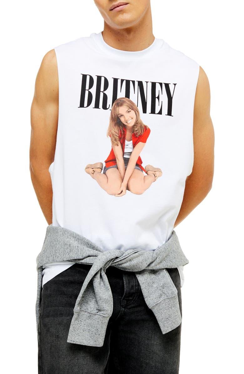 TOPMAN Britney Spears Classic Tank Top, Main, color, WHITE MULTI