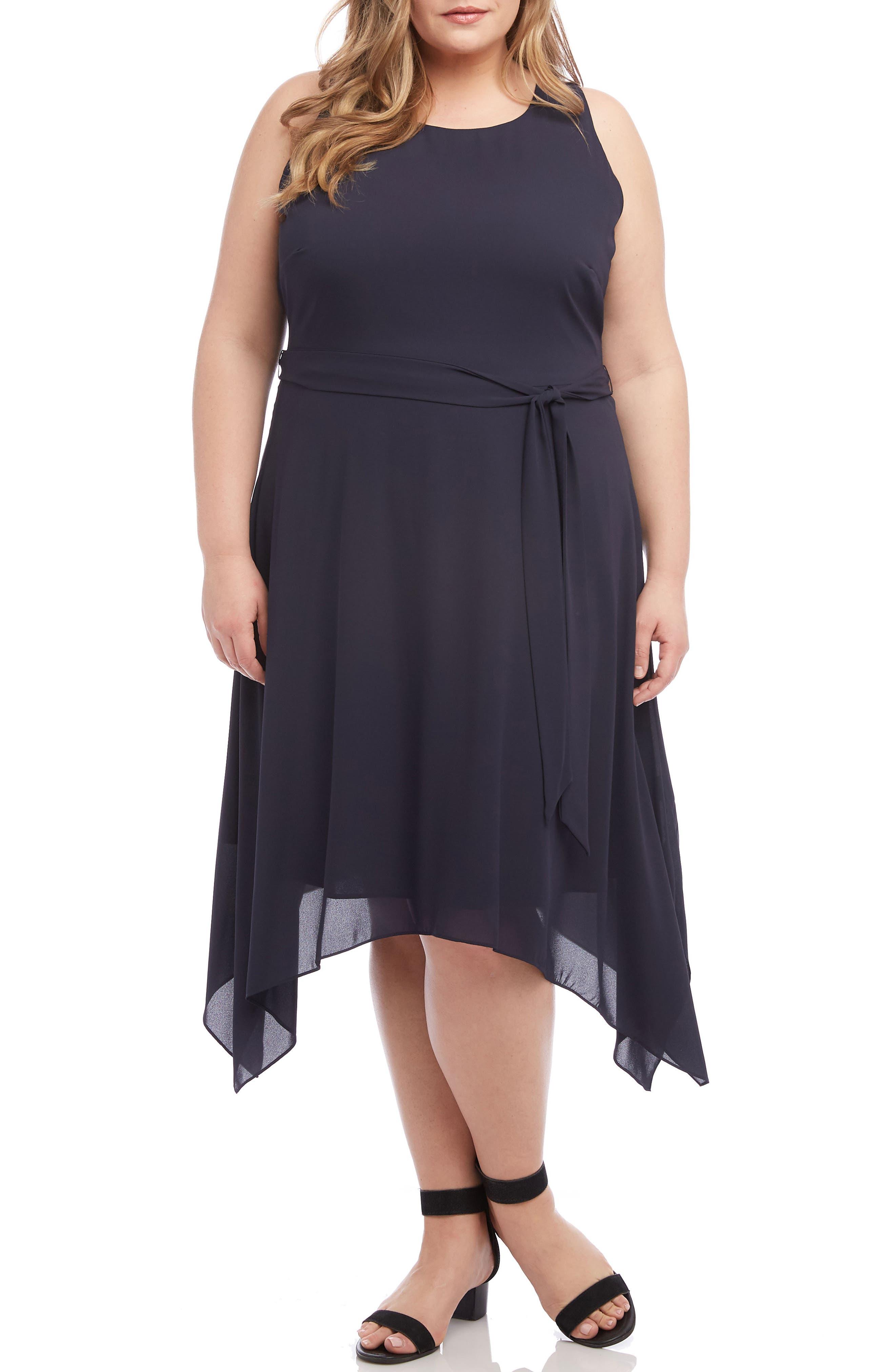 Plus Size Karen Kane Sleeveless Handkerchief Hem Dress, Blue