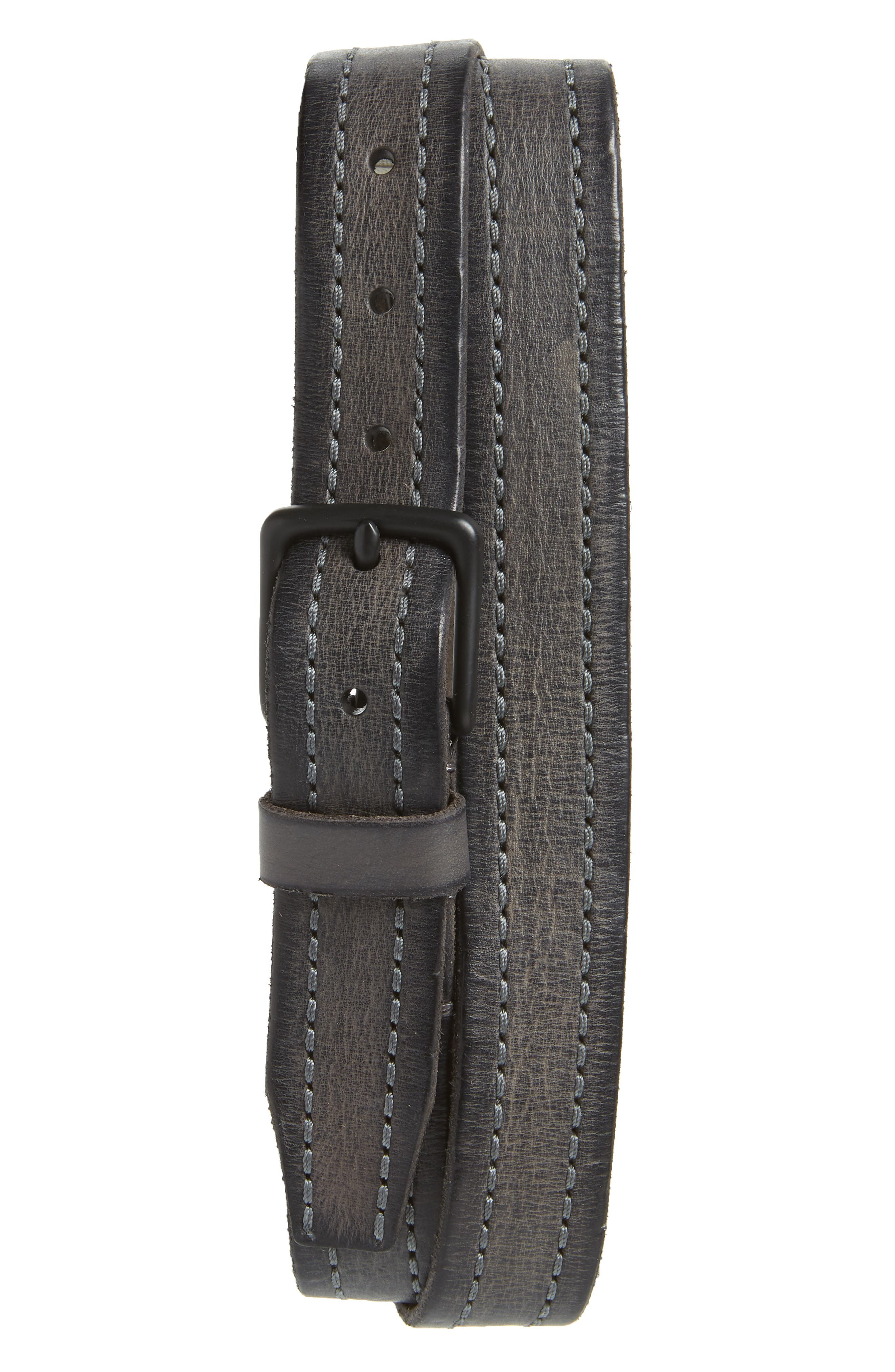 Allsaints Stitched Leather Belt, Anthracite Grey
