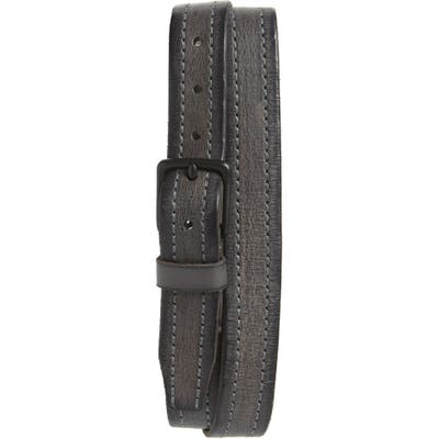 Allsaints Stitched Leather Belt, Anthracite Grey