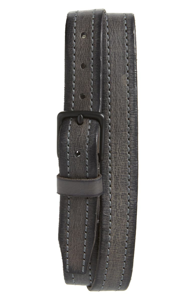 ALLSAINTS Stitched Leather Belt, Main, color, ANTHRACITE GREY