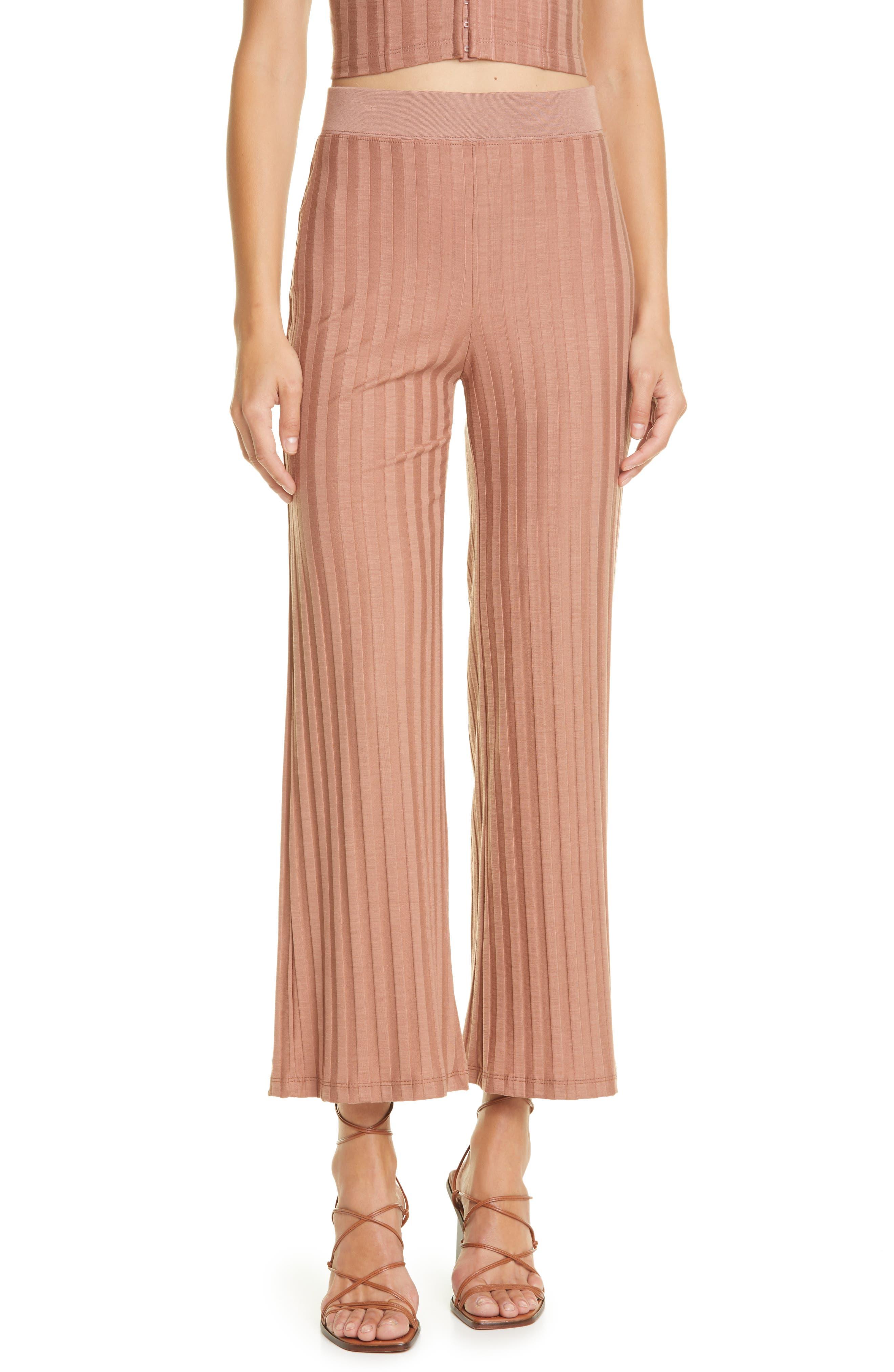 Celia Compact Rib Crop Wide Leg Pants