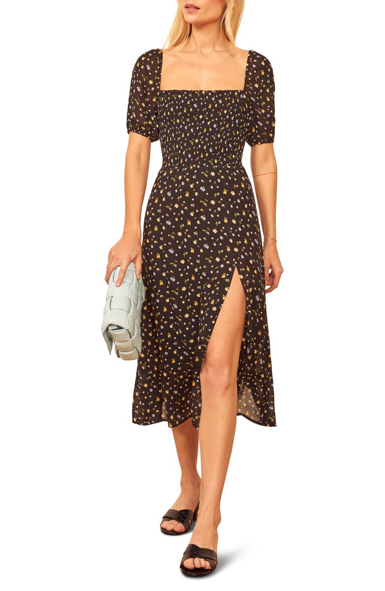 REFORMATION Meadow Floral Print Midi Dress, Main, color, POSIE