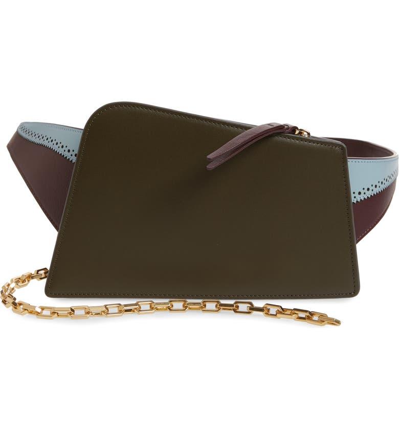 THE VOLON Dia Asymmetrical Convertible Leather Belt Bag, Main, color, 300