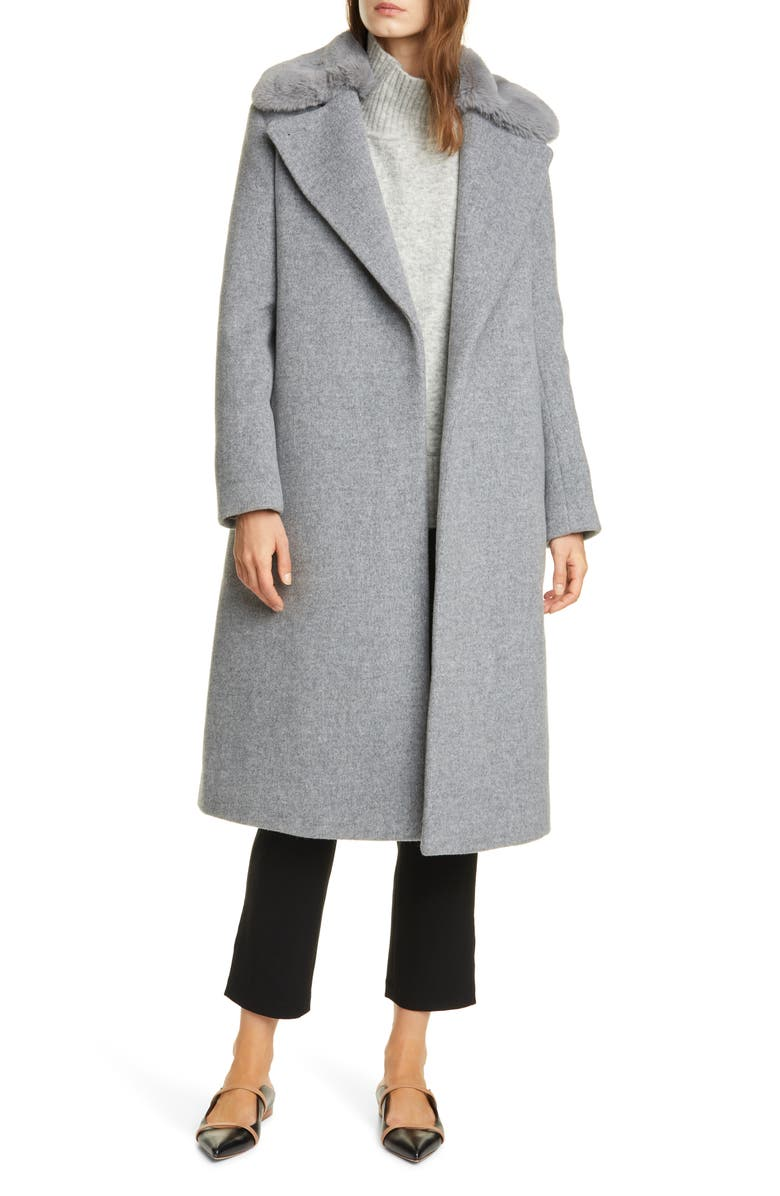 CLUB MONACO Baylee Removable Faux Fur Collar Wool Blend Coat, Main, color, HEATHER GREY