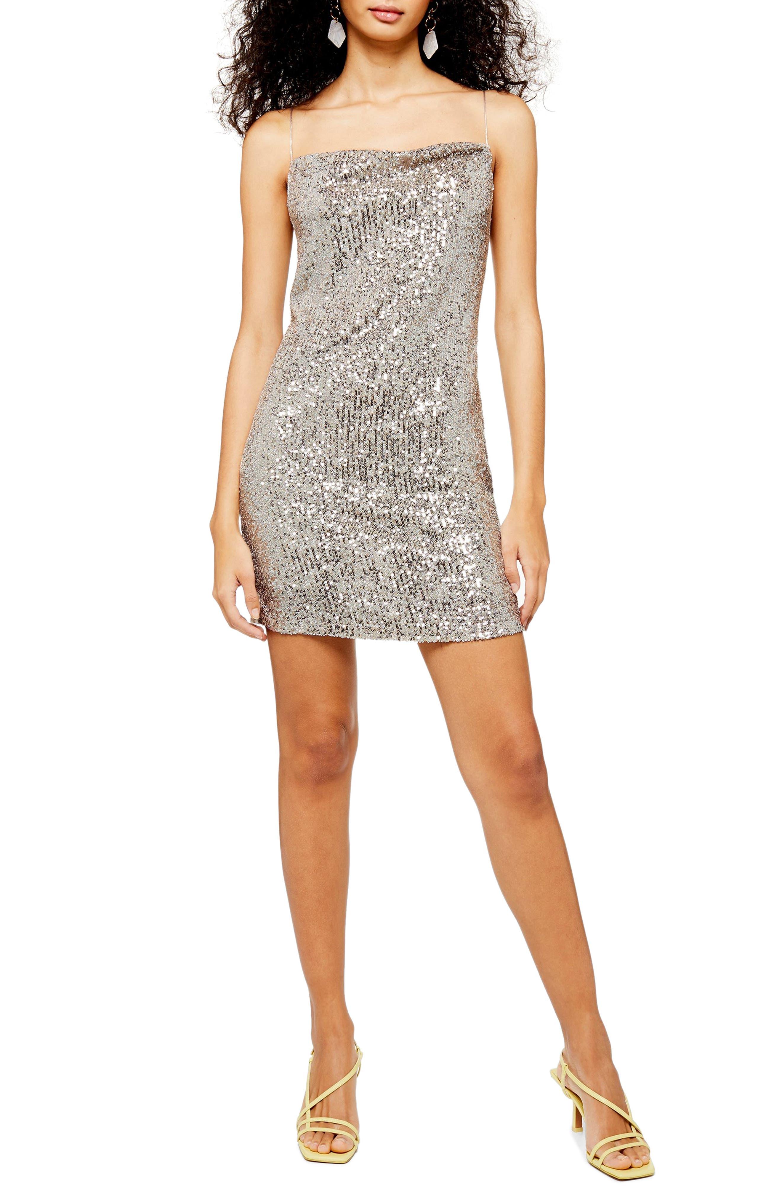 Topshop Sequin Cowl Neck Minidress, US (fits like 14) - Metallic
