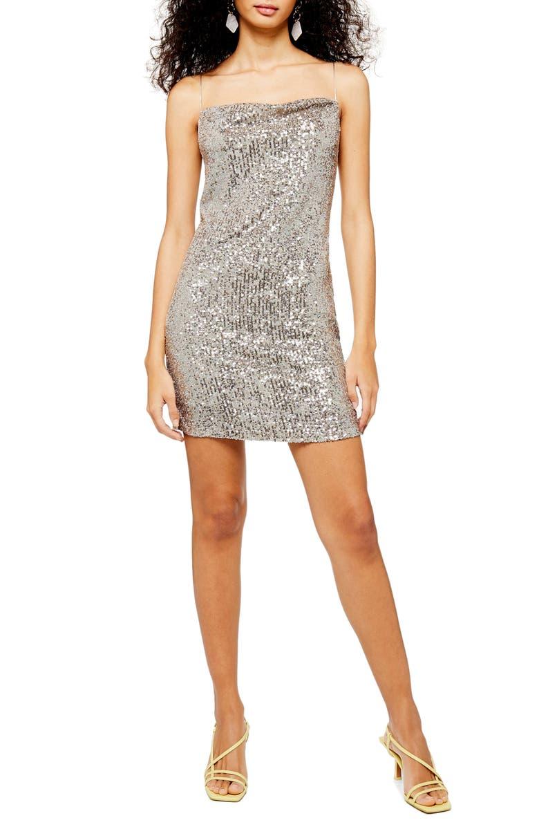 TOPSHOP Sequin Cowl Neck Minidress, Main, color, SILVER