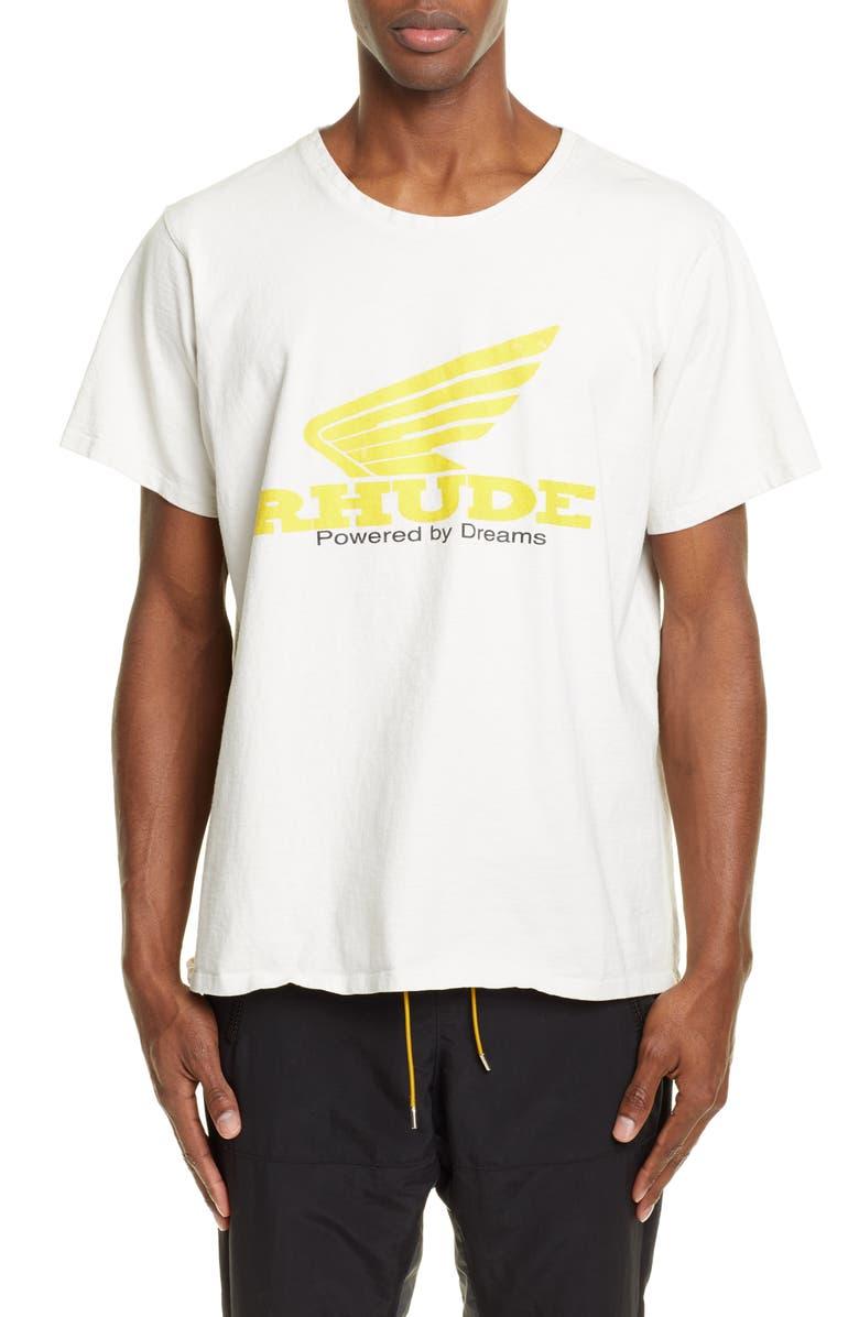 RHUDE Yellow Rhonda Graphic T-Shirt, Main, color, WHITE