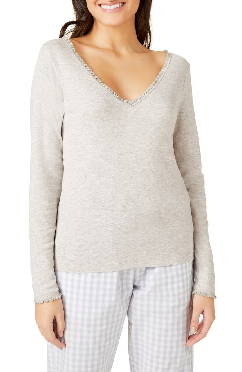 THE WHITE COMPANY Lace Trim Pajama Top, Main, color, 020