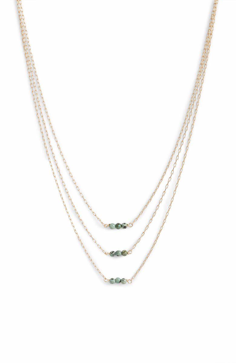 MARIDA Myriad Triple-Strand Necklace, Main, color, TURQUOISE/ GOLD