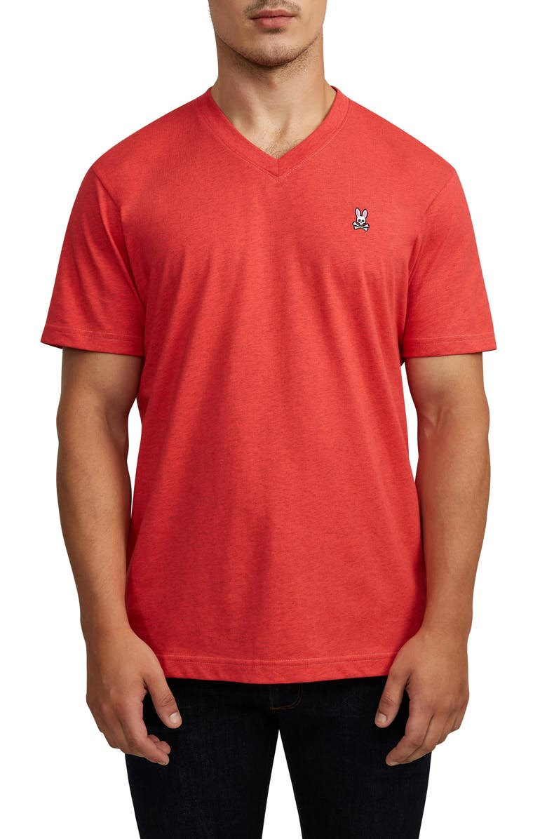 PSYCHO BUNNY Classic V-Neck T-Shirt, Main, color, 600 HIBISCUS