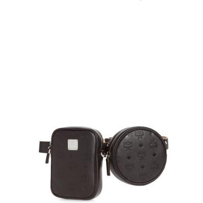 Mcm Essential Monogram Leather Double Belt Bag - Black