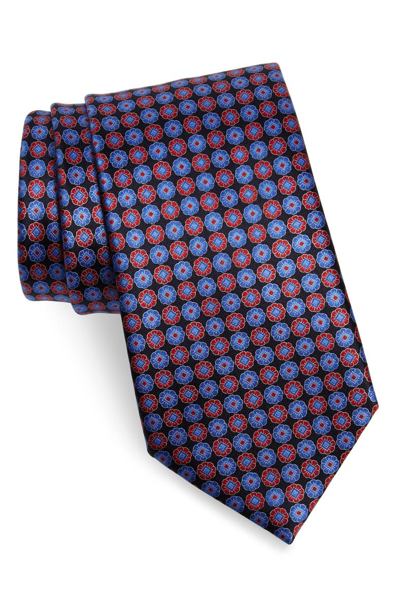 ERMENEGILDO ZEGNA Geometric Silk Tie, Main, color, NAVY RED