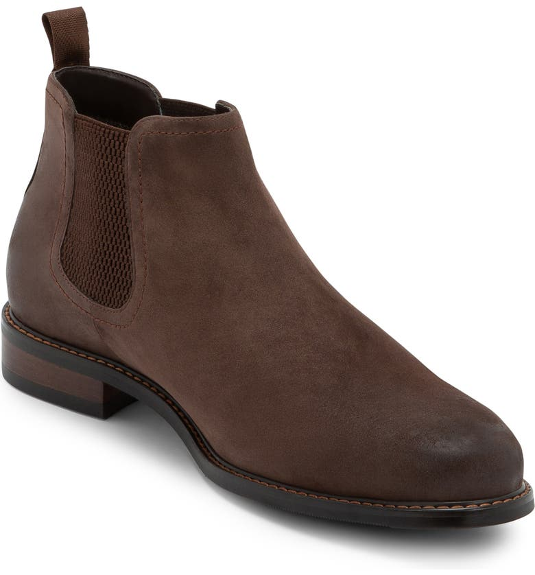 BLONDO Kai Waterproof Chelsea Boot, Main, color, BROWN NUBUCK