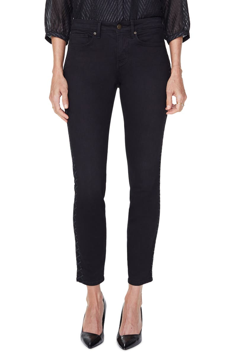 NYDJ Ami Embroidered Side Stripe Skinny Jeans, Main, color, 001
