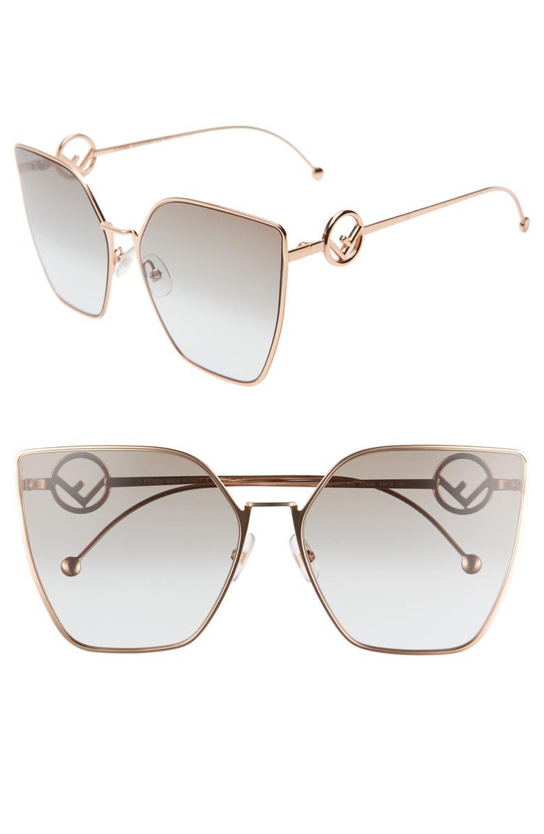 FENDI F is Fendi 63mm Oversized Sunglasses, Main, color, GOLD/ COPPER